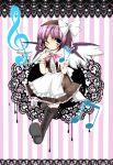 animal_ears apron bad_id blush earrings female fujishiro_emyu hat highres jewelry musical_note mystia_lorelei pink_hair ribbon short_hair touhou violet_eyes wings wink