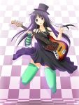 "1girl akiyama_mio arm_warmers bare_shoulders bass_guitar black_eyes black_hair checkered don't_say_""lazy"" dress female full_body guitar hat highres instrument k-on! long_hair solo takepon thigh-highs top_hat"