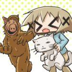 >_< 1girl alf alien cat closed_eyes crossover gordon_shumway heterochromia hidamari_sketch nyanta_(hidamari) wide_face yuno
