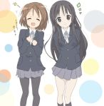 2girls akiyama_mio arms_behind_back closed_eyes core_(mayomayo) hirasawa_yui k-on! multiple_girls pantyhose school_uniform smile