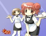 aoki_ume apron bow bowtie brown_hair cake cup double_bun food hidamari_sketch hiro pastry scan tea thigh-highs waist_apron waitress yuno