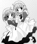 aogiri_sei hand_holding hidamari_sketch maid monochrome nazuna yuno