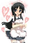 1girl akiyama_mio alternate_costume apron bad_id bangs black_hair blunt_bangs blush breasts dress enmaided female garters hairband heart heart_hands hime_cut juuniya_gekkatsuru k-on! long_hair maid maid_apron maid_headdress moe_moe_kyun! open_mouth solo thigh-highs uruu_gekka zettai_ryouiki