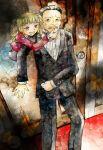 beelzebub black_hair blonde_hair door gohda_toshiro gouda_toshirou lowres red_eyes smile stakes_of_purgatory sweat umineko_no_naku_koro_ni yanon