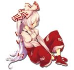 bad_id baggy_pants blush bow buriki fujiwara_no_mokou hair_bow hair_ribbon long_hair ofuda ponytail red_eyes ribbon simple_background sitting solo suspenders touhou white_hair
