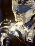 facial_hair gloves headband lighter male metal_gear_solid mustache old_snake smoking solid_snake white_hair