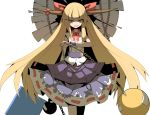 1girl absurdres blonde_hair bow chain hair_bow highres horns ibuki_suika long_hair open_mouth ribbon skirt smile solo touhou very_long_hair