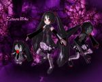 3girls black_hair chibi crossover darkness detached_sleeves female gothic hachune_miku headphones heartless heartless_emblem kingdom_hearts long_hair miniskirt multiple_girls necktie o_o red_eyes shoes skirt smile spring_onion thigh-highs twintails very_long_hair vocaloid wallpaper zatsune_miku