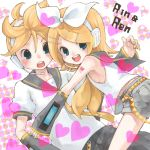 1boy 1girl armpits bad_id blonde_hair blue_eyes blush brother_and_sister hair_ornament hair_ribbon hairclip heart kagamine_len kagamine_rin kumatani ribbon short_hair shorts shota siblings sleeveless twins vocaloid