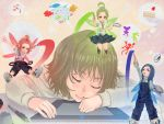 art_brush blue_hair brown_hair brush closed_eyes green_hair highres honoji minigirl oekaki_girl oekaki_musume original paintbrush redhead sleeping tablet wacom