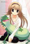 absurdres blonde_hair blue_eyes chaos;head frog highres megami nishijou_nanami pantyhose sasaki_mutsumi scan