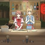 2girls alice_margatroid apron bottle chopsticks cooking daikon dishes eel female food_stand forest grill kitchen_knife lantern multiple_girls mystia_lorelei nature paper_lantern pot sleeves_rolled_up torinone touhou wings