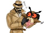 1boy crossover dc_comics fedora gloves hat hoothoot inkblot jacket male_focus mask pokemon pokemon_(creature) rorschach simple_background solo translated uso_(stsksyc) watchmen white_background