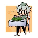 1girl animal_ears chibi food giuseppina_ciuinni hat lowres luu solo strike_witches translated translation_request world_witches_series