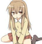 1girl :< bad_id blush brown_eyes brown_hair child kneeling long_hair maruki_(punchiki) minami-ke minami_chiaki skirt solo triangle_mouth