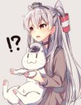 amatsukaze_(kantai_colection) animal blush brown_eyes grey_hair kantai_collection long_hair personification seifuku smile