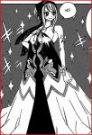 1girl bow dress fairy_tail female french hand_on_hip hips long_dress lowres lucy_heartfilia mashima_hiro monochrome scanlation scarf smile solo sparkle standing