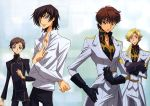 4boys absurdres black_hair brown_hair closed_mouth code_geass collarbone gino_weinberg gradient gradient_background hashimoto_tomonori highres kururugi_suzaku lelouch_lamperouge looking_at_viewer male_focus multiple_boys official_art rolo_lamperouge slender smirk standing uniform white_background