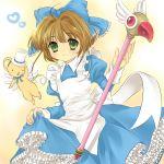1girl alice_(wonderland) alice_(wonderland)_(cosplay) alice_in_wonderland bad_id card_captor_sakura child cosplay fuuin_no_tsue hanabana_tsubomi highres kero kinomoto_sakura magical_girl ribbon solo staff