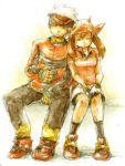 00s 1boy 1girl bandanna bike_shorts brown_hair gloves haruka_(pokemon) hat keko_(corona) lowres odamaki_sapphire pokemon pokemon_(game) pokemon_rse ruby_(pokemon) short_hair sitting sleeping white_hair yuuki_(pokemon)