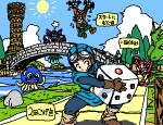 1girl 2boys :d angry assisted_exposure bangs bat_wings belt blue_skin blue_sky boots bridge brown_hair carrying chunsoft cloak clouds demon demon_tail dice dragon dragon_quest dragon_quest_ii drakee enix flying flying_sweatdrops gloves goggles goggles_on_head grass hanbu_hantarou hargon head_fins helmet hoimi_slime holding hood island itadaki_street leg_warmers lowres monster monster_request multiple_boys oekaki open_mouth oversized_object palm_tree pants prince_of_lorasia prince_of_samantoria princess_of_moonbrook purple_hair river road rock running shadow sky slime smile spandex speech_bubble spiky_hair squatting staff steam sun tail tentacle tower translation_request tree water wings