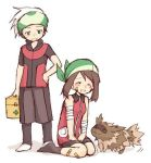 00s 1boy 1girl alternate_costume bandage bandaid bandanna blue_eyes brown_hair closed_eyes first_aid_kit green_eyes haruka_(pokemon) haruka_(pokemon_emerald) hat headband nintendo odamaki_sapphire plaster pokemon pokemon_(game) pokemon_rse pokemon_special ruby_(pokemon) short_hair simple_background socks white_background white_hair yuuki_(pokemon) yuuki_(pokemon_emerald) ziguzaguma zigzagoon