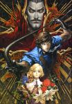 1girl 2boys absurdres age_difference androgynous bandolier bat black_gloves black_hair blonde_hair bloodshot_eyes blue_eyes breasts brown_hair castle castlevania castlevania:_dracula_x_chronicles chains charcoal_(medium) cravat cross dracula elbow_gloves facial_hair flower gloves goatee gothic high_collar highres holding kojima_ayami konami long_hair looking_at_viewer low_ponytail maria_renard multiple_boys muscle mustache neck_ribbon official_art oil_painting_(medium) pale_skin ponytail promotional_art ribbon richter_belmondo shirt skeleton sleeves_folded_up sleeves_rolled_up small_breasts traditional_media upper_body vampire wavy_hair weapon whip yellow_eyes
