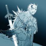 1boy 1girl archer blue excalibur fate/stay_night fate_(series) glowing glowing_sword glowing_weapon injury kanshou_&_bakuya lowres monochrome saber spikes st_parasu stabbed sword weapon