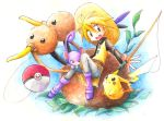 1girl :d blonde_hair blush brown_eyes creature doduo fishing_rod full_body hat leaf nintendo open_mouth pika_(pokemon) pikachu plant pointy_ears poke_ball pokemon pokemon_special rattata sitting smile teeth yellow_(pokemon)