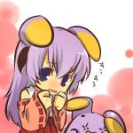 +_+ 1girl chibi cosplay crossover gonyonyo hanyuu higurashi_no_naku_koro_ni hitec horns japanese_clothes jpeg_artifacts kemonomimi_mode moemon nintendo parody pokemon pokemon_(creature) pokemon_(game) pokemon_rse purple_hair red_hakama shy solo symbol-shaped_pupils violet_eyes whismur whismur_(cosplay)