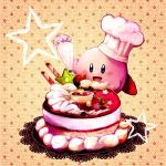 cake cat chef_hat cooking food fruit hat icing king_dedede kirby kirby_(series) lowres nintendo no_humans pastry pastry_bag sepia_background sin_(hitonatsu) strawberry when_you_see_it