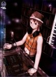 90s abe_yoshitoshi absurdres animal_ears bear_ears bottle bracelet brown_eyes brown_hair dj hair_ornament hairclip hat headphones headphones_around_neck highres instrument iwakura_lain jewelry keyboard keyboard_(instrument) midriff mixer necklace official_art phonograph ring serial_experiments_lain synthesizer turntable