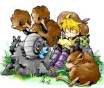 1girl 90s androgynous bad_id blonde_hair boots caterpie closed_eyes doduo grass graveler hat holding izumi_asuka nintendo omanyte outdoors pikachu pokemon pokemon_(game) pokemon_rgby pokemon_special purple_boots raticate rock shell short_hair simple_background sitting white_background yellow_(pokemon)