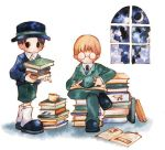 2boys book book_stack child full_body glasses hat indoors jeff_andonuts kneehighs lowres male_focus mother_(game) mother_2 multiple_boys open_book shorts sky tony_(mother_2) window