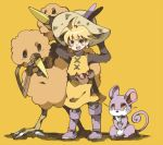 1girl androgynous chachi chachi_(azuzu) doduo hat nintendo pokemon pokemon_special rattata reverse_trap yellow_(pokemon)