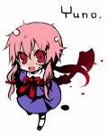 1girl axe blood chibi gasai_yuno hatchet lowres mirai_nikki pink_hair red_eyes ribbon school_uniform serafuku solo weapon yandere