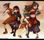 2boys 2girls aang armband avatar:_the_last_airbender avatar_(series) black_hair blind bracelet brown_hair everyone hairband headband jewelry katara long_hair magic midriff multiple_boys multiple_girls nickelodeon short_hair sokka toph_bei_fong topknot water