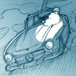 1boy blue car emiya_kiritsugu fate/stay_night fate_(series) ground_vehicle gun lowres male_focus mercedes_benz mercedes_benz_300sl monochrome motor_vehicle solo st_parasu vehicle weapon