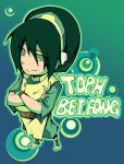 1girl avatar:_the_last_airbender avatar_(series) black_hair blind crossed_arms foreshortening from_above full_body green_eyes hair_between_eyes long_sleeves nickelodeon short_hair solo standing text toph_bei_fong