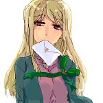 1girl bangs blonde_hair higurashi_no_naku_koro_ni letter long_hair looking_at_viewer love_letter lowres mouth_hold oekaki ribbon simple_background solo sora_(efr) takano_miyo white_background