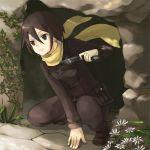 00s 1girl belt brown_eyes brown_hair cave flower gun kino kino_no_tabi leaf loo lowres reverse_trap rock scarf short_hair solo weapon