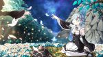2girls :o apron black_dress black_ribbon black_shoes blood blood_on_face blue_eyes blue_hair breasts butterfly cleavage crying crying_with_eyes_open detached_sleeves dress field flail flower flower_field frilled_dress frilled_sleeves frills full_body glowing_butterfly hair_ornament highres holding holding_weapon horn kai_(lolicc) long_sleeves maid maid_headdress mary_janes meteor_shower multiple_girls neck_ribbon oni_horns out_of_frame petals pink_ribbon ram_(re:zero) re:zero_kara_hajimeru_isekai_seikatsu reaching rem_(re:zero) ribbon shoes shooting_star short_hair siblings sisters sitting small_breasts solo_focus tears waist_apron wariza weapon white_legwear wide_sleeves x_hair_ornament