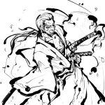 1boy japanese_clothes konpaku_youki lowres male_focus monochrome solo sword tokiame touhou weapon