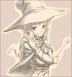 1girl cat monochrome nagato_yuki nomura_teruya sepia shamisen_(suzumiya_haruhi) solo suzumiya_haruhi_no_yuuutsu wand witch