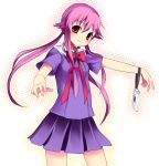 1girl blush cellphone cellphone_strap gasai_yuno hair_ribbon looking_at_viewer mei mirai_nikki phone pink_hair red_eyes red_ribbon ribbon school_uniform serafuku simple_background solo subaru_(yachika) twintails