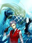 1boy adachi_yousuke atlus evoker gun male_focus persona persona_3 polydeuces sanada_akihiko school_uniform serafuku weapon