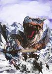 1girl advent_cirno capcom cirno crossover female monster_hunter parody shimadoriru solo tigrex touhou translated