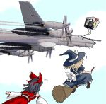 ! !? ... 2girls aircraft airplane black_hair blonde_hair bomber bow broom broom_riding contra-rotating_propellers detached_sleeves female flying hair_bow hakurei_reimu hat helmet kirisame_marisa military military_vehicle multiple_girls pilot russia russian skirt soviet star sweatdrop touhou tu-95 witch_hat