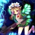 blonde_hair bow_(weapon) crossbow flower hair_flower hair_ornament mercedes odin_sphere pointy_ears red_eyes takashima weapon wings