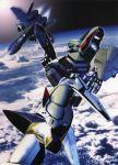 90s airplane clouds floating flying gun highres jet macross macross_plus mecha no_humans rifle sky tenjin_hidetaka variable_fighter weapon yf-19 yf-21